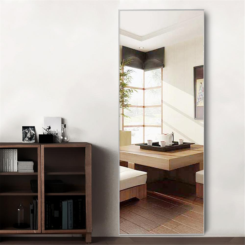 Unbranded Neutype Silver Aluminum Alloy Thin Frame Full Length Floor Mirror Standing Hanging Or Leaning Against Wall Jj00372zzvn The Home Depot