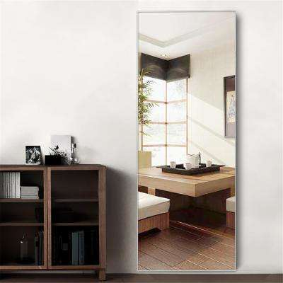 NeuType Silver Aluminum Alloy Thin Frame Full Length Floor Mirror Standing Hanging or Leaning Against Wall