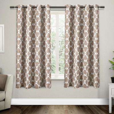 Gates 52 in. W x 63 in. L Woven Blackout Grommet Top Curtain Panel in Taupe (2 Panels)