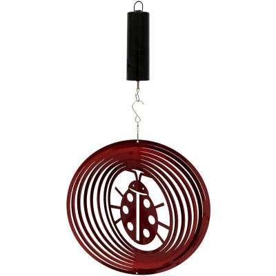 Ladybug 12 in. Whirligig Wind Spinner with Battery-Operated Motor