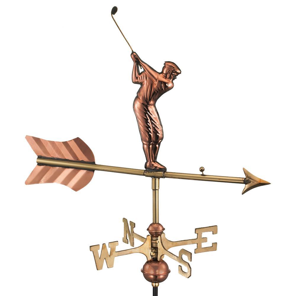 Golfer Garden Weathervane - Pure Copper with Garden Pole