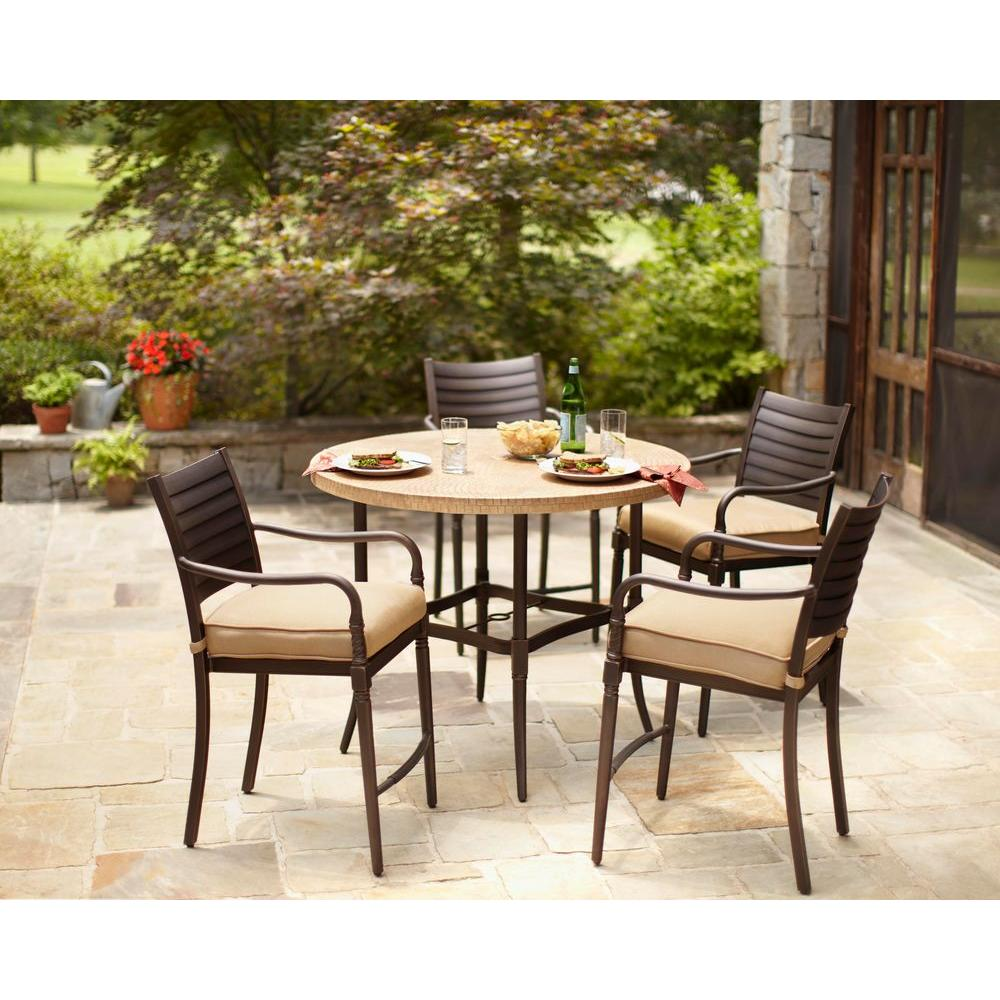 Hampton Bay Madison 5-Piece Patio High Dining Set with Textured Golden Wheat Cushion-DISCONTINUED