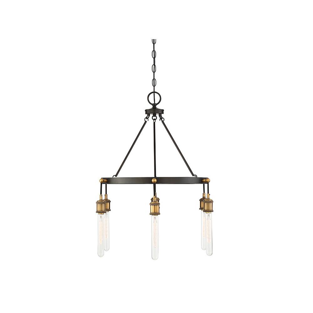 6-Light Vintage Black with Warm Brass Chandelier