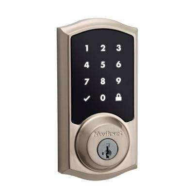 Z-Wave SmartCode 916 Touchscreen Satin Nickel Single Cylinder Electronic Deadbolt featuring SmartKey