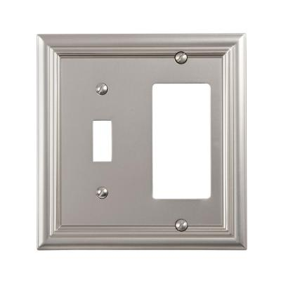 Continental 2 Gang 1-Toggle and 1-Rocker Metal Wall Plate - Satin Nickel