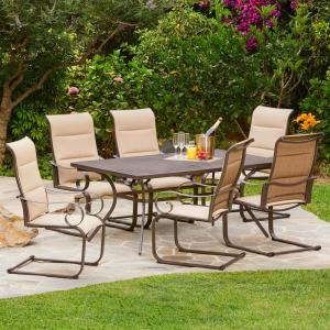 Spring Hill 7 Piece Aluminum Sling Outdoor Dining Set In Tan
