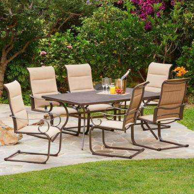 Spring Hill 7-Piece Aluminum Sling Outdoor Dining Set in Tan