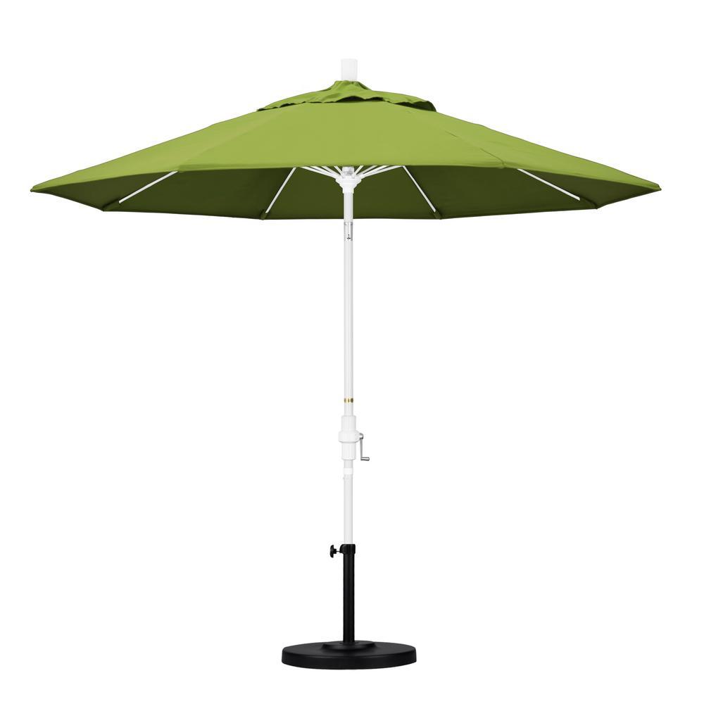 California Umbrella 9 Ft Matted White Aluminum Market Patio Umbrella With Fiberglass Ribs Collar Tilt Crank Lift In Macaw Sunbrella Gscuf908170 5429 The Home Depot