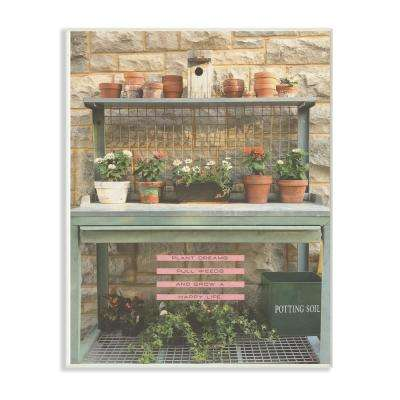 """10 in. x 15 in. """"Pink and Green Plant Dreams Garden Typography Photograph"""" by Tammy Apple Wood Wall Art"""
