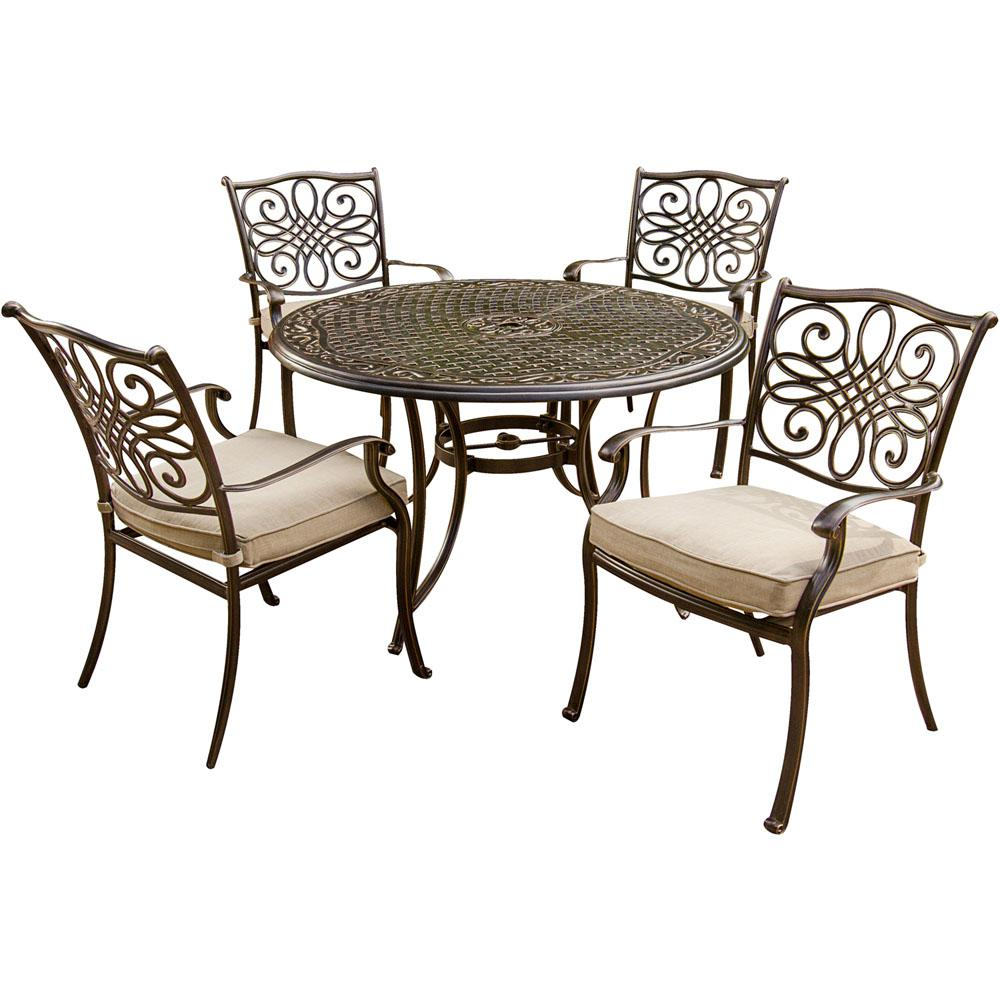 Saddle Brown Round Table And 4 Kitchen Chairs 5 Piece: Hanover Traditions 5-Piece Aluminum Round Outdoor Dining