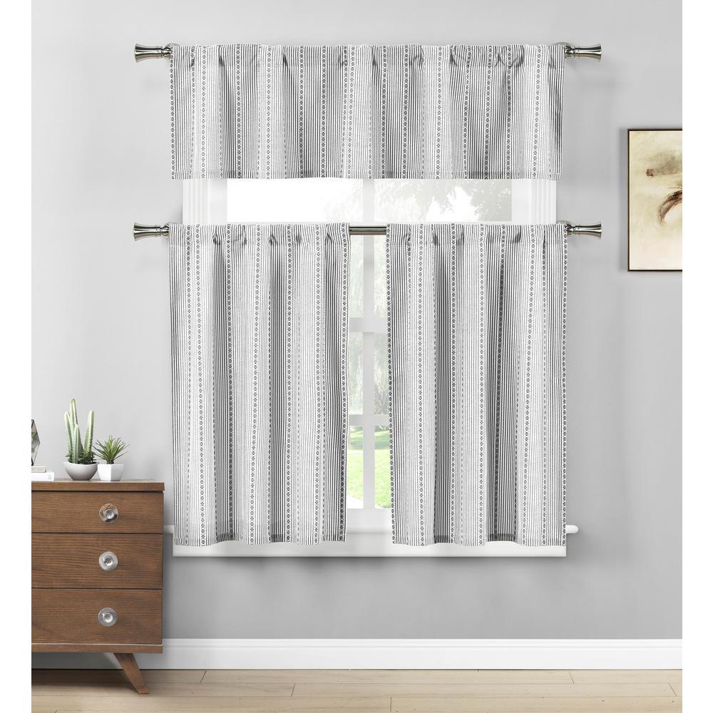 Kylie Black-White Kitchen Curtain Set - 58 in. W x 15 in. L in (3-Piece)