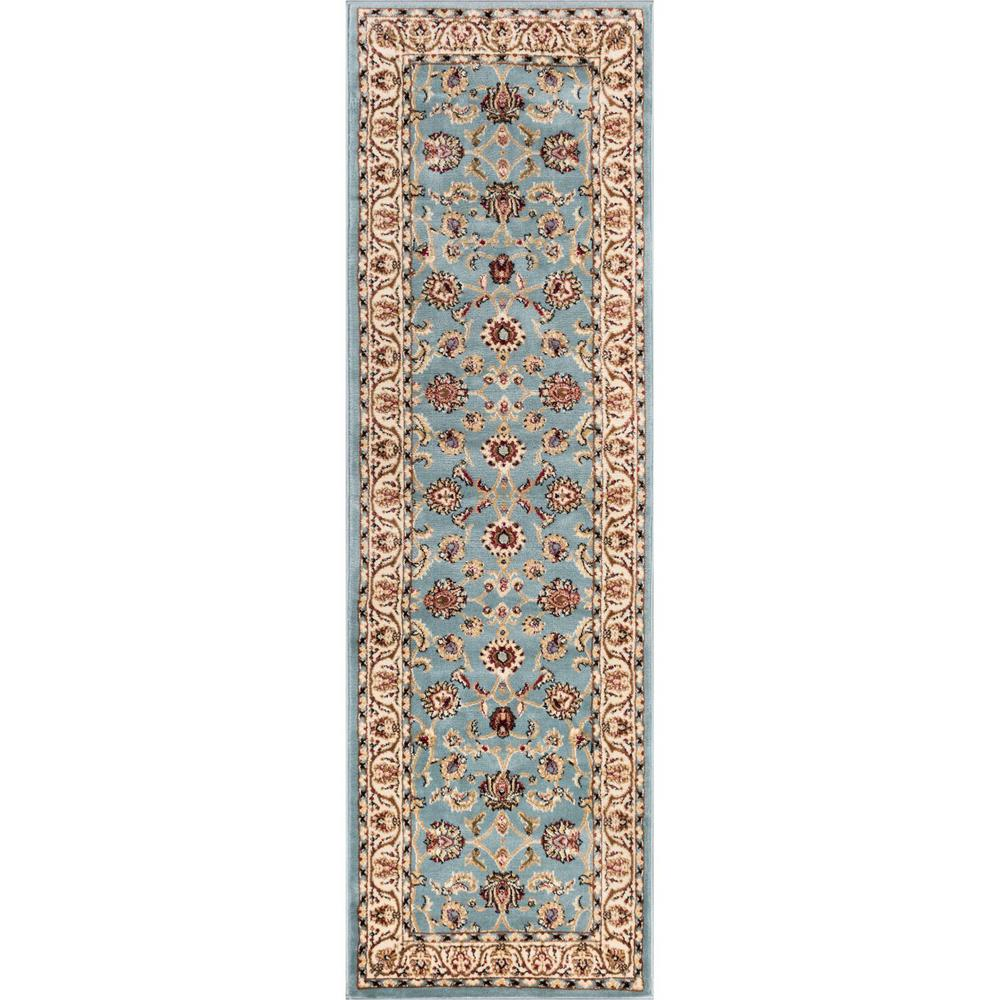 Well Woven Barclay Sarouk Light Blue 2 Ft X 7 Traditional Oriental Runner