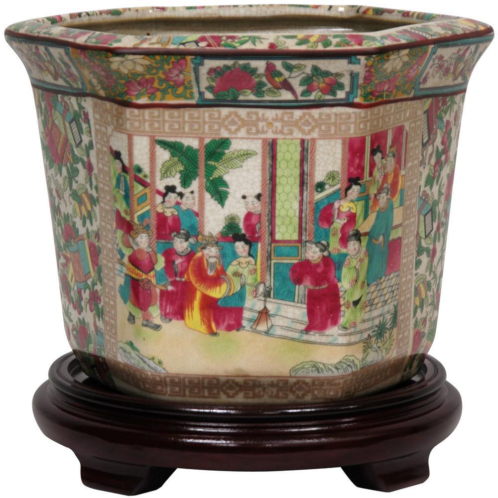 225 & Oriental Furniture 10 in. Rose Medallion Porcelain Flower Pot
