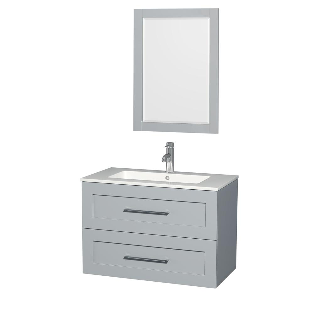 Wyndham Collection Olivia 35.5 in. W x 19 in. D Vanity in Dove Gray with Acrylic Vanity Top in White with White Basin and 24 in. Mirror