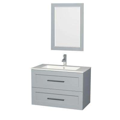 Olivia 35.5 in. W x 19 in. D Vanity in Dove Gray with Acrylic Vanity Top in White with White Basin and 24 in. Mirror