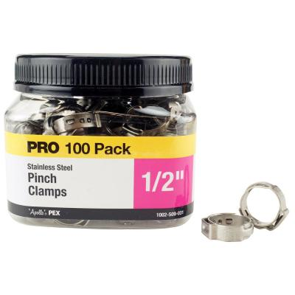 1/2 in. Stainless Steel PEX Barb Pinch Clamp Jar (100-Pack)