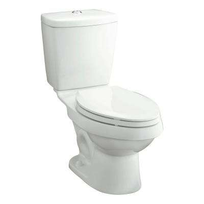 Karsten 2-Piece 0.8/1.6 GPF Dual Flush Elongated Toilet in White, Seat Not Included
