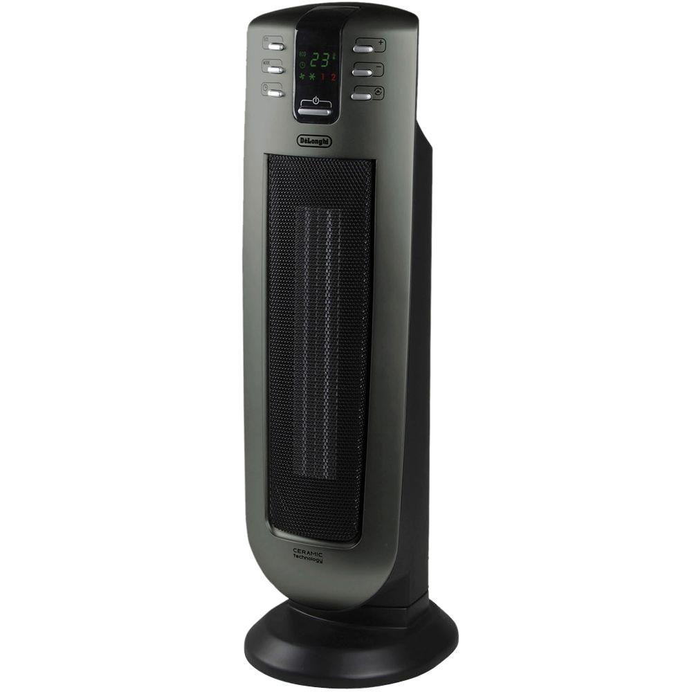 DeLonghi DeLonghi Safeheat 24 in. 1500-Watt Ceramic Vented Tower Heater with Remote Control and Eco Energy Function, Black/Grey