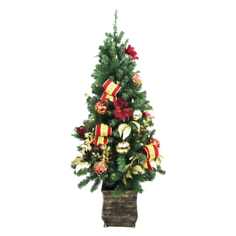 Small Battery Operated Christmas Tree: Home Accents Holiday 4 Ft. Battery Operated Plaza Potted