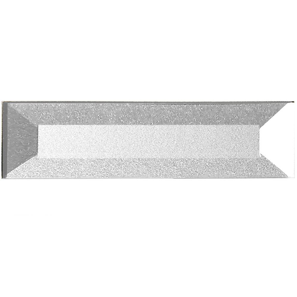 Forever Eternal Silver Deco 2 in. x 8 in. Glossy Inner Beveled Glass Wall Tile (9 Pk)