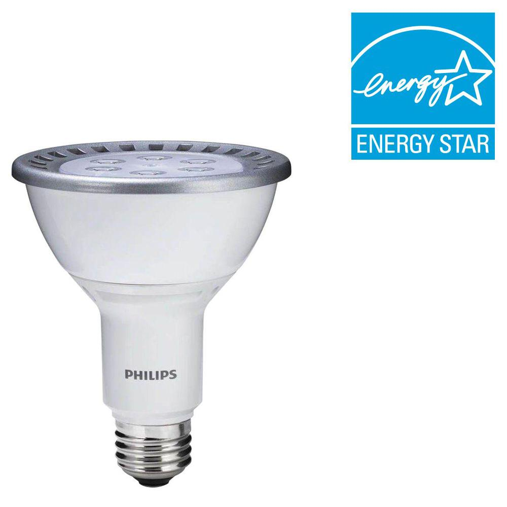 Philips 75W Equivalent Bright White (3000K) PAR30L Dimmable LED Flood Light Bulb (E)* (2-Pack)