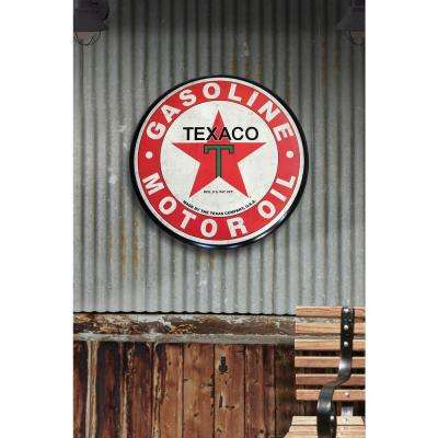 24 in. x 24 in. Texaco Hollow Curved Tin Button Sign