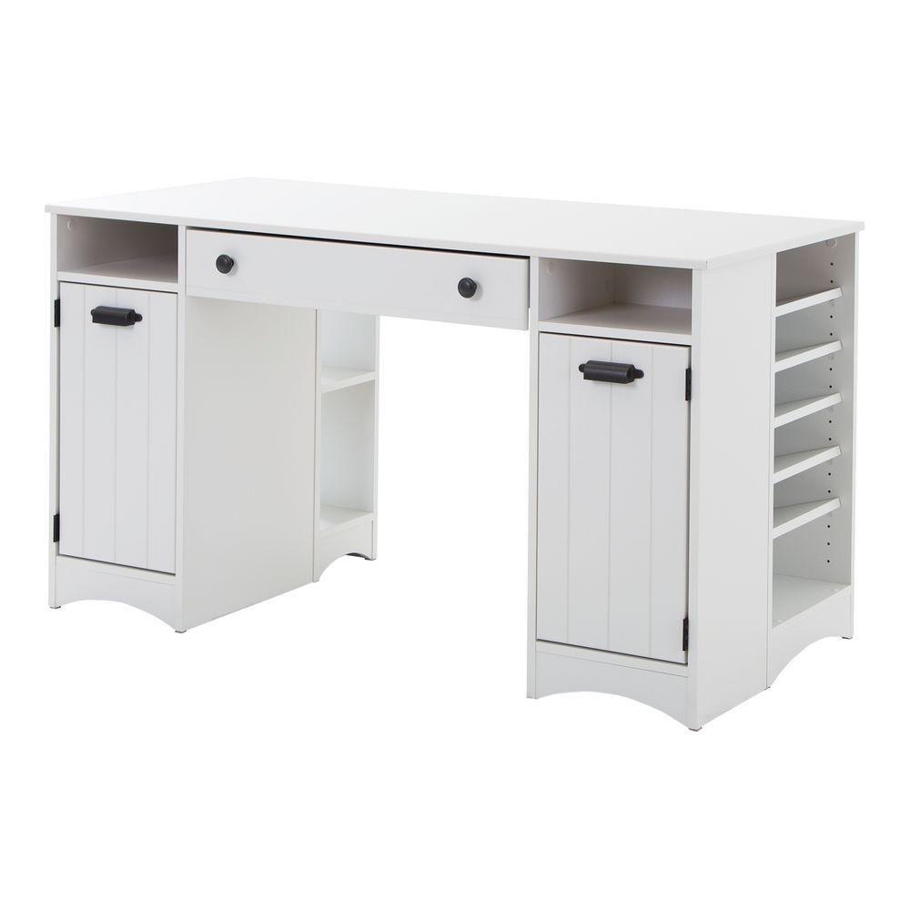 South shore artwork straight desk with drawers desk in for South shore artwork craft table with storage pure white