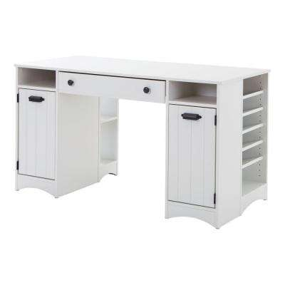 Artwork Non-Extendable 53.5 in. with Storage Wood Laminate Pure White Craft Table