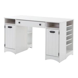 Artwork Straight Desk with Drawers Desk in Pure White