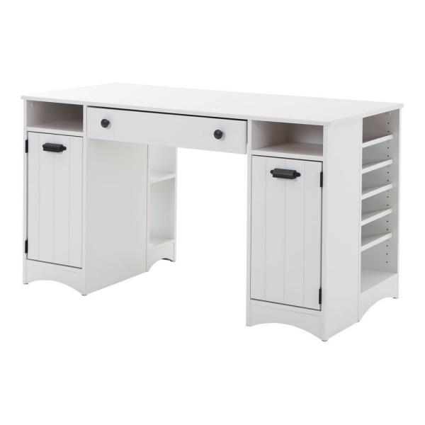 South Shore Artwork Straight Desk with Drawers Desk in Pure White
