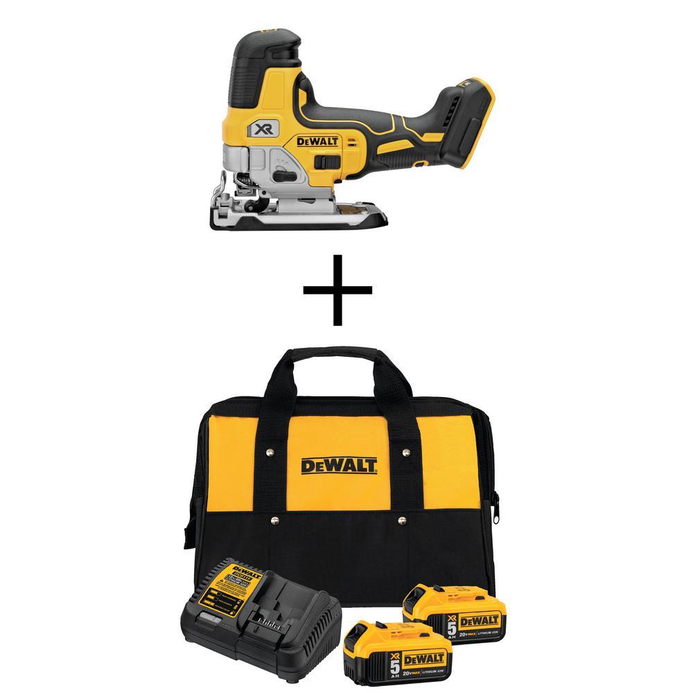 DEWALT 20-Volt MAX XR Cordless Body Grip Jig Saw w/ Two 20-Volt 5.0Ah Batteries, Charger and Bag