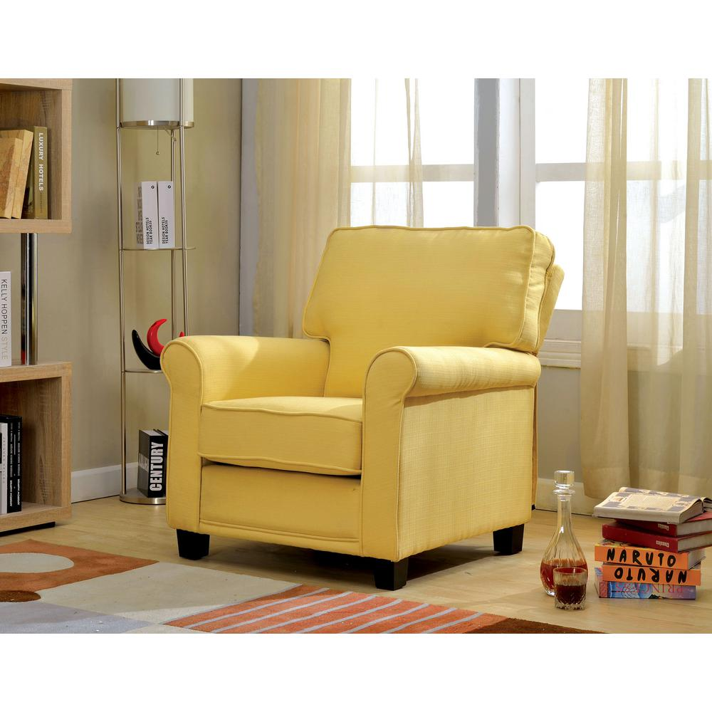 William S Home Furnishing Yellow Belem Transitional Accent Chair Cm Ac6056yw The Depot