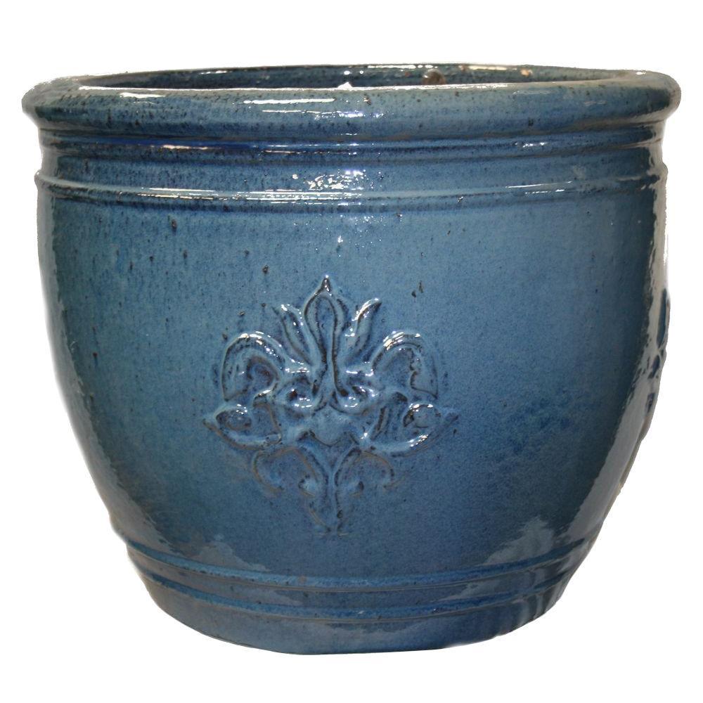 Mariposa pottery 18 75 in ceramic large la cienega pot in blue