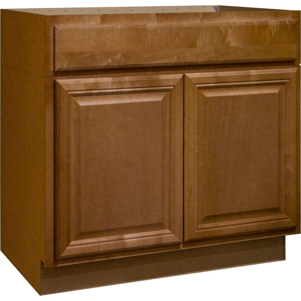 hampton bay cambria assembled in accessible sink base kitchen cabinet in harvest. Black Bedroom Furniture Sets. Home Design Ideas