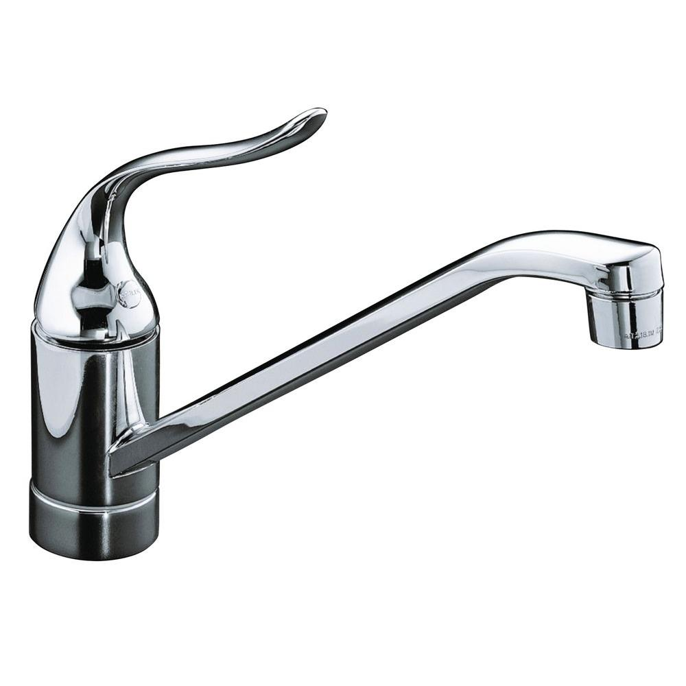 KOHLER Coralais Single-Handle Standard Kitchen Faucet with Less Escutcheon  in Polished Chrome