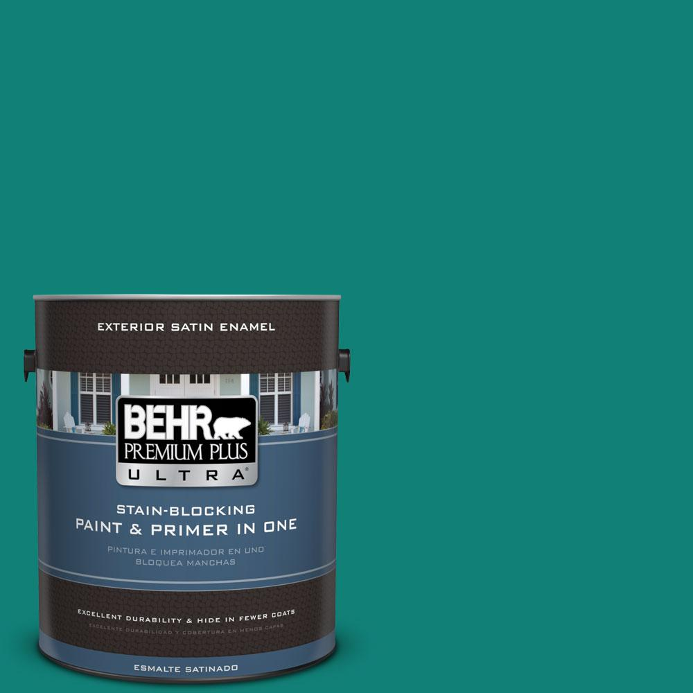 BEHR Premium Plus Ultra Home Decorators Collection 1-gal. #HDC-WR14-9 Green Garlands Satin Enamel Exterior Paint