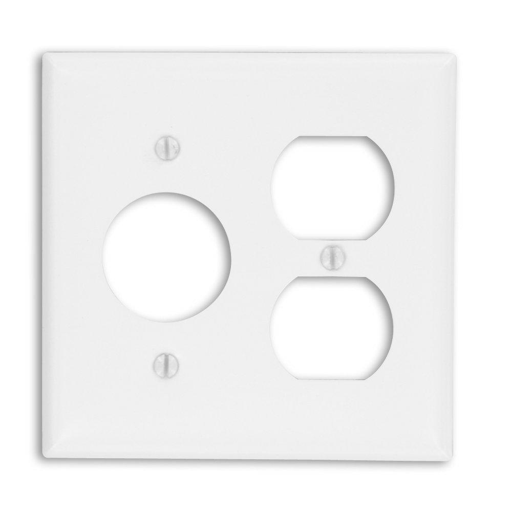 2-Gang Standard Size 1-Duplex Receptacle 1-Single Receptacle Painted Metal