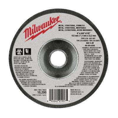 6 in. x .045 in. x 7/8 in. Cut-Off Wheel (Type 27)