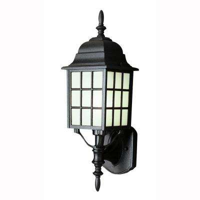 Cityscape 1 Light Black Coach Lantern With Frosted Glass