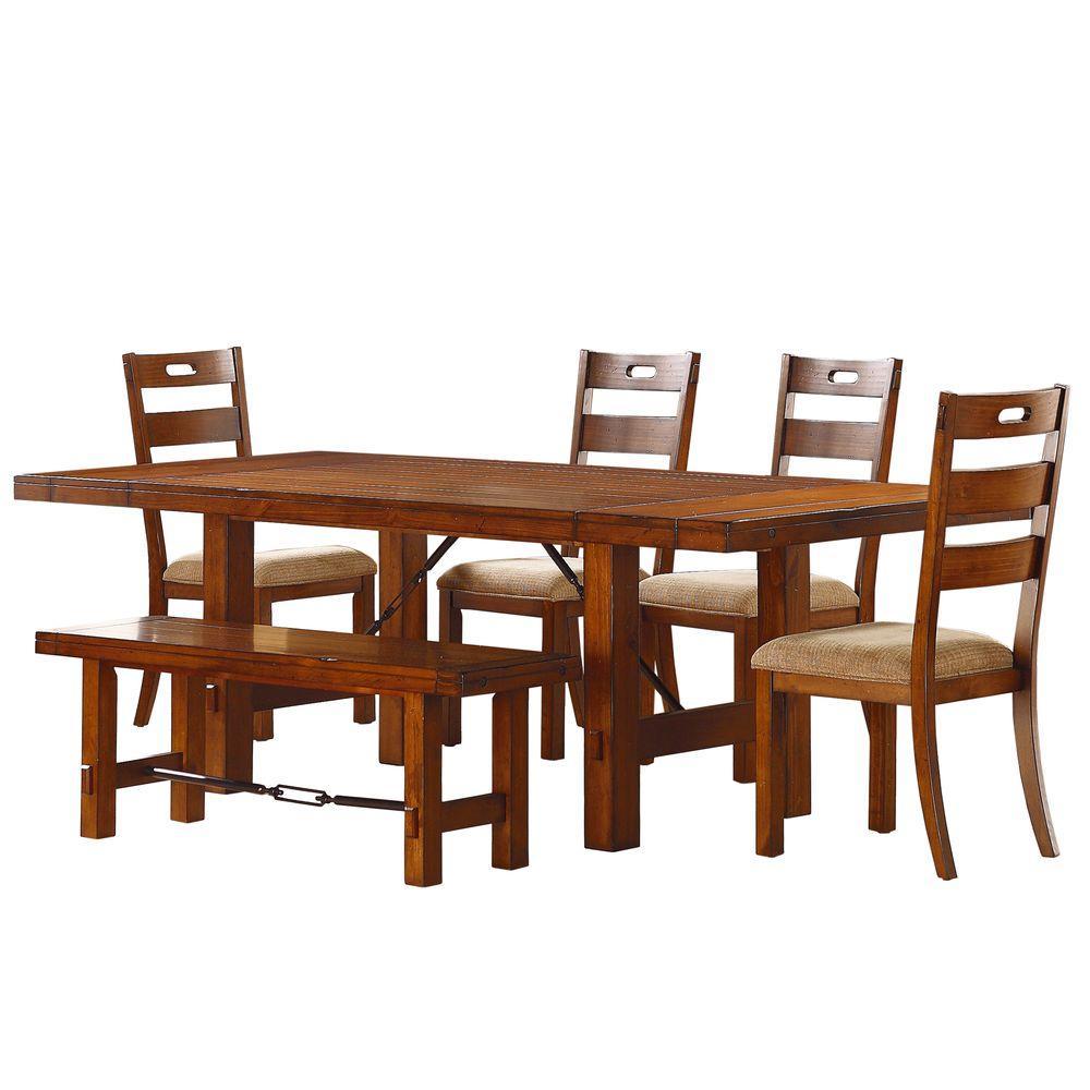 Homesullivan honea 6 piece vintage oak dining set 402515 for Home depot dining room sets