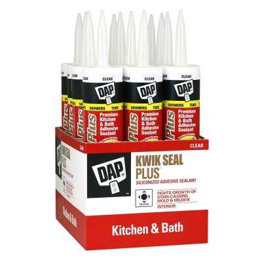 Kwik Seal Plus 10.1 oz. Clear Premium Kitchen and Bath Siliconized Caulk (12-Pack)