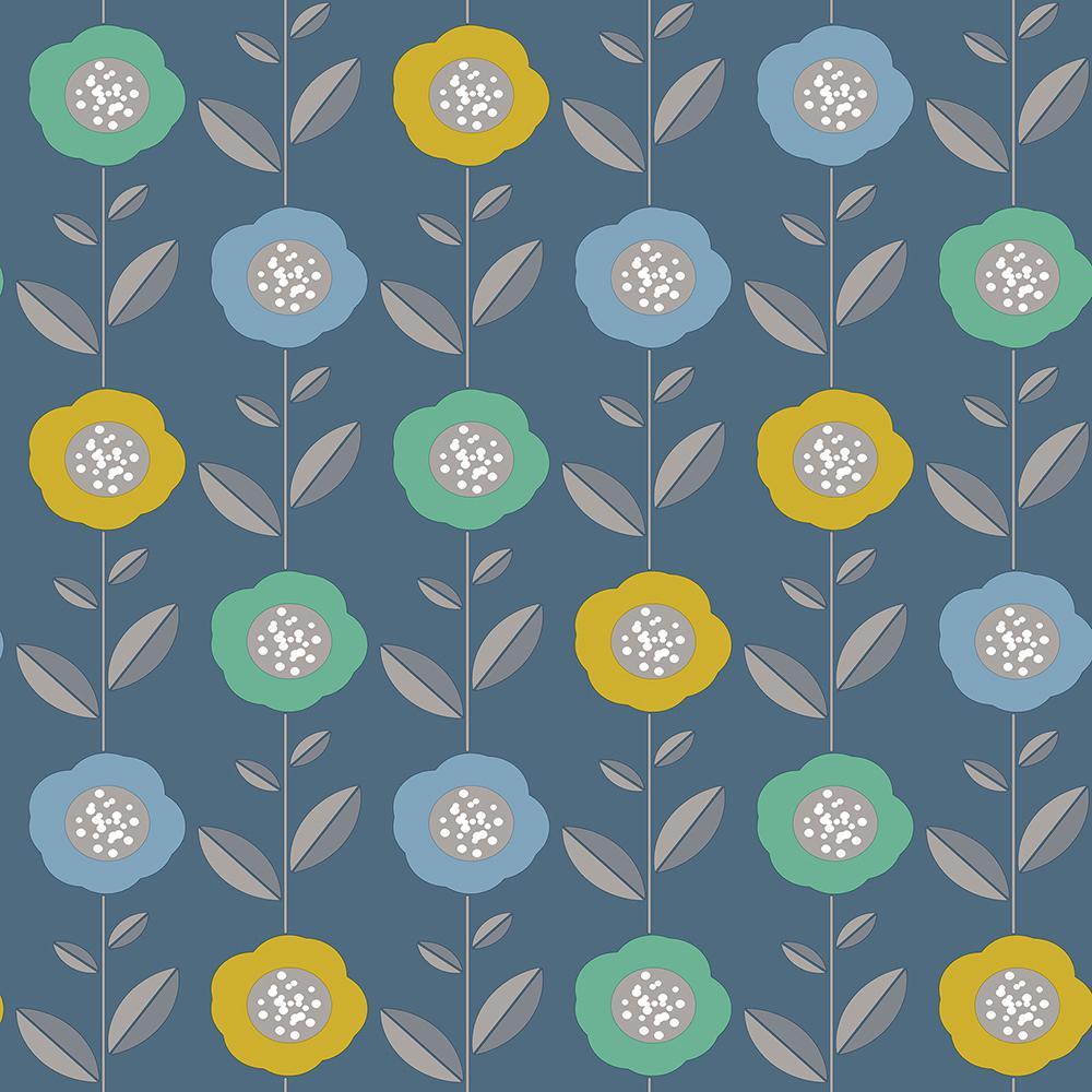 56.4 sq. ft. Helsinki Blue Flowers Wallpaper