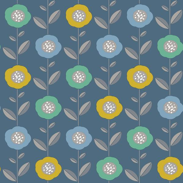 Coloroll 56.4 sq. ft. Helsinki Blue Flowers Wallpaper M1323