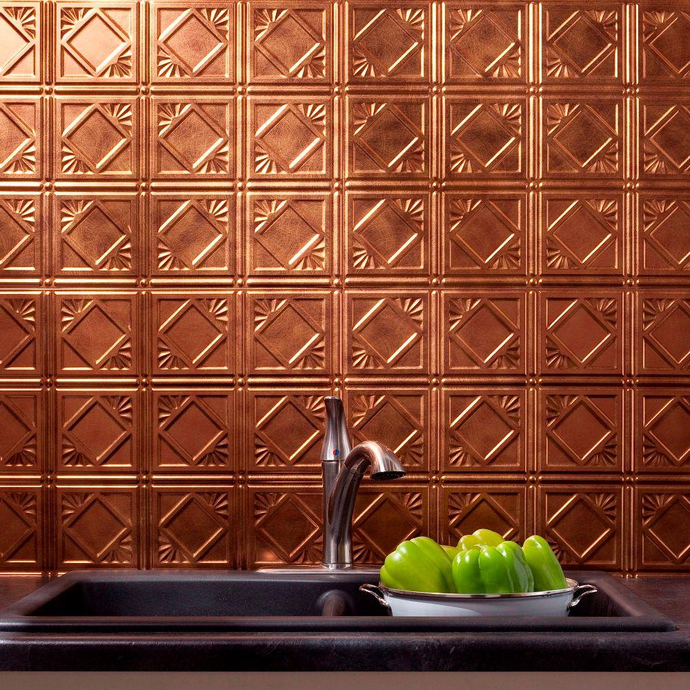 Fasade 24 in. x 18 in. Traditional 4 PVC Decorative Backsplash Panel in Antique Bronze