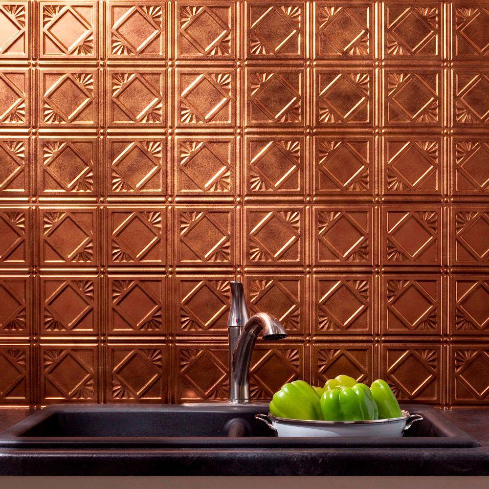 Fasade 24 in. x 18 in. Traditional 4 PVC Decorative Backsplash Panel in Antique Bronze