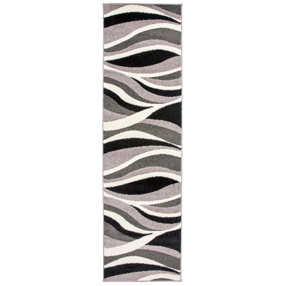 Modern Wavy Design Gray 2 ft. x 7 ft. Indoor Runner Rug