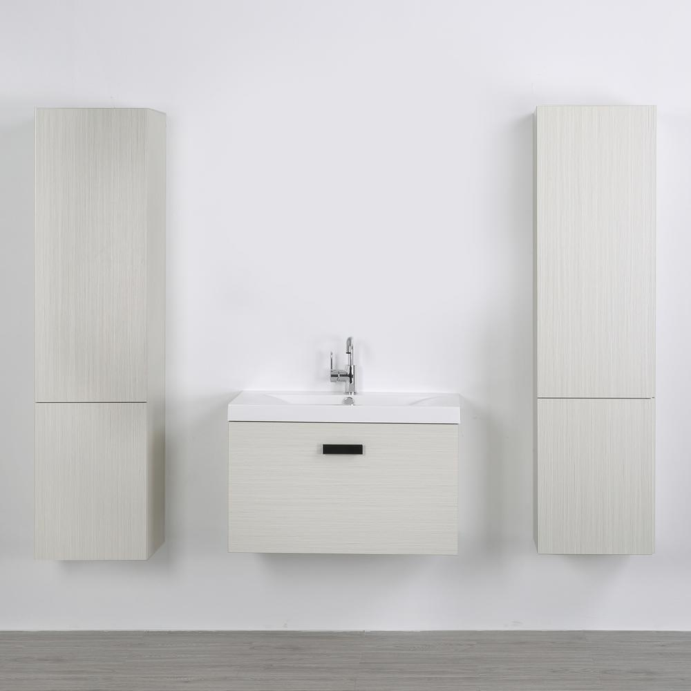 Streamline 31.5 in. W x 18.2 in. H Bath Vanity in Gray with Resin Vanity Top in White with White Basin