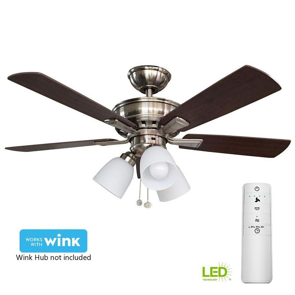 hampton bay vaurgas 44 in led brushed nickel smart ceiling fan with light kit and wink remote. Black Bedroom Furniture Sets. Home Design Ideas