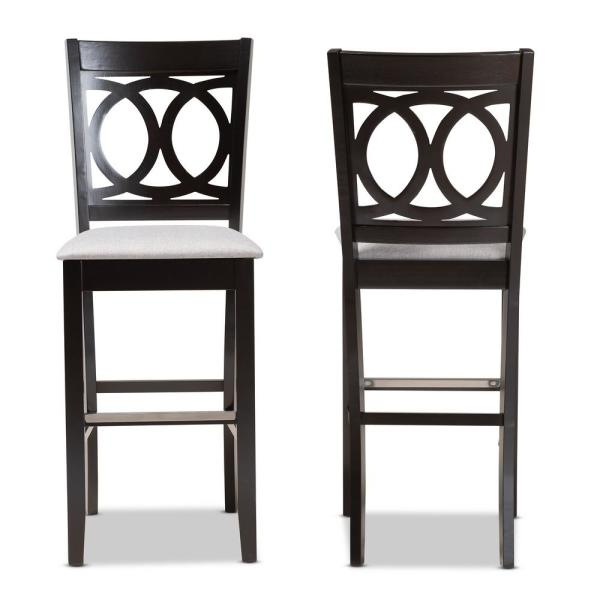 28.3 in. Carson Grey and Espresso Brown Bar Stool (Set of 2)