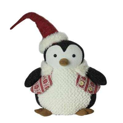 18 in. Large Plush Penguin in Red Nordic Snowflake Vest Christmas Figure
